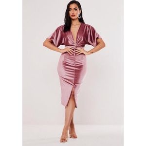 Missguided Velvet Blush Kimono Sleeve Midi Dress